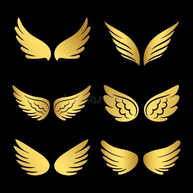 Gouden vleugels vectorinzameling Engelenvleugels op zwarte achtergrond worden geïsoleerd die stock illustratie