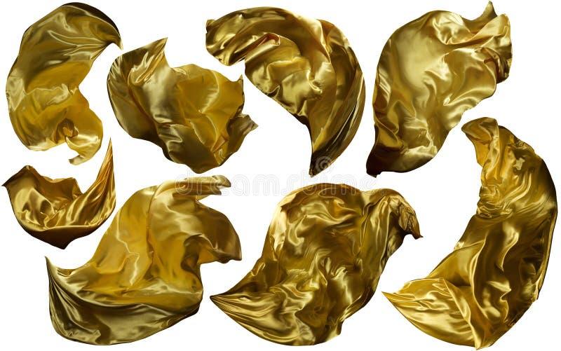 Gouden Vliegende Stof, Stromende Golvende Gouden Doek, Geel Gordijn royalty-vrije stock foto's