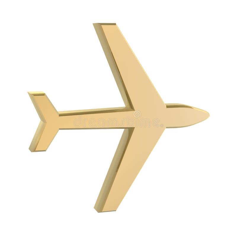 Gouden vliegtuig stock illustratie
