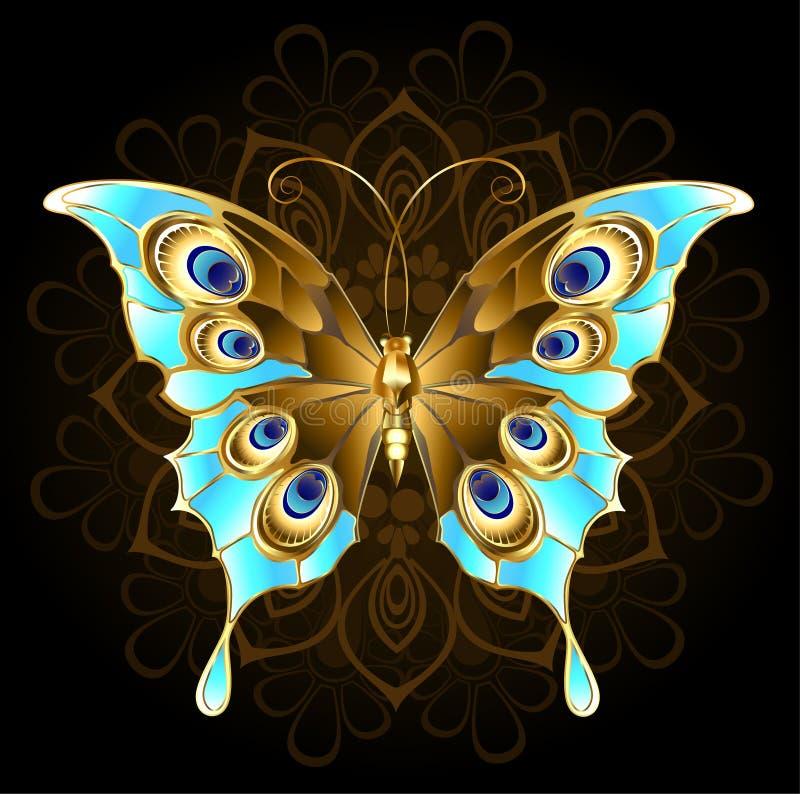 Gouden vlinder met turkoois vector illustratie