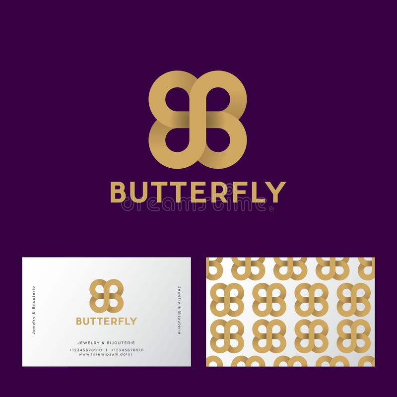 Gouden vlinder zoals oneindigheid van lint B en B-monogram op een donker-purpere achtergrond Dubbele B zoals een vlinder royalty-vrije illustratie