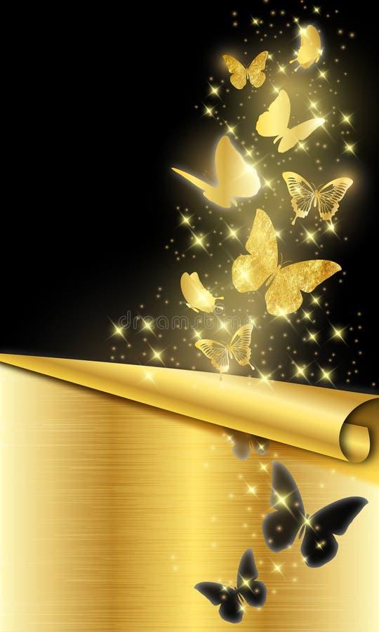 Gouden vlinders op zwarte achtergrond stock illustratie