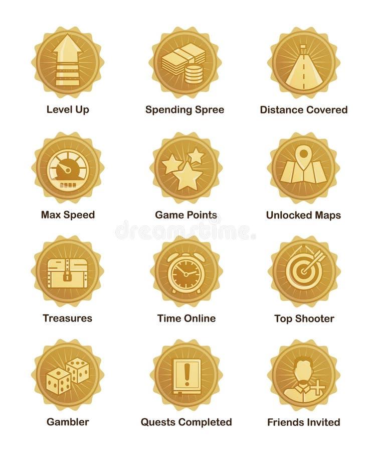 Gouden voltooiingskentekens voor schutter, agent, arcadespel stock illustratie