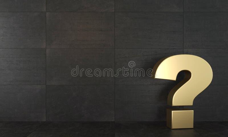 Gouden vraagteken Grunge of zolder Conceptueel gouden beeldhouwwerk in het binnenland Gang of zaal vector illustratie