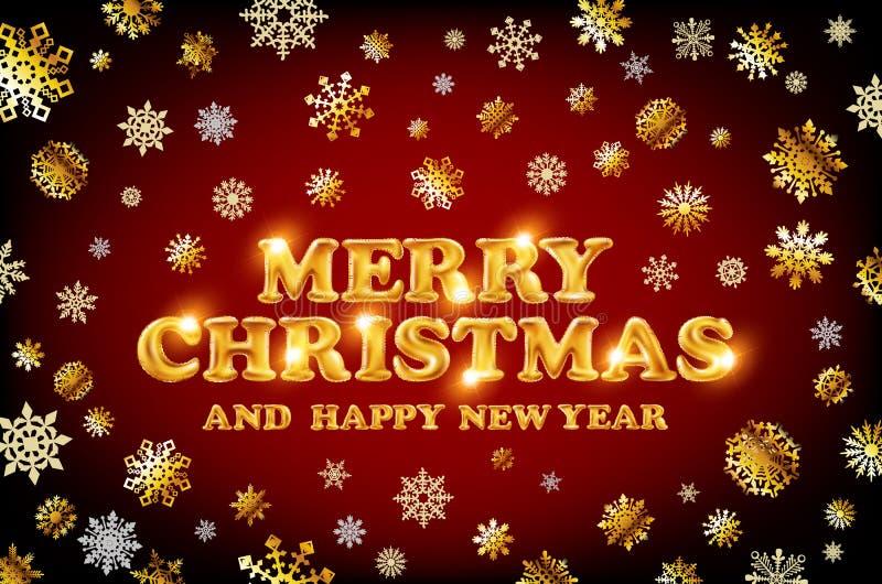 Gouden Vrolijke Kerstmis en Gelukkige Nieuwjaar rode achtergrond met decoratie op gouden lichte sneeuwvlokken Vector illustratie  royalty-vrije illustratie