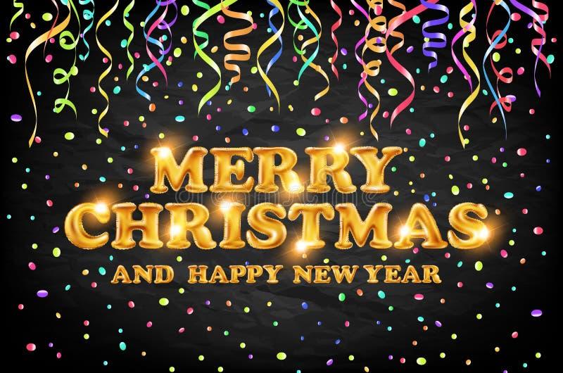 Gouden Vrolijke Kerstmis en Gelukkige Nieuwjaar zwarte achtergrond met decoratie op kleuren lichte confettien Vector illustratie  royalty-vrije illustratie