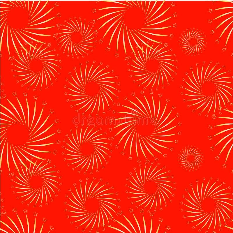 Gouden vuurwerk op het rode naadloze element van het patroonontwerp stock illustratie
