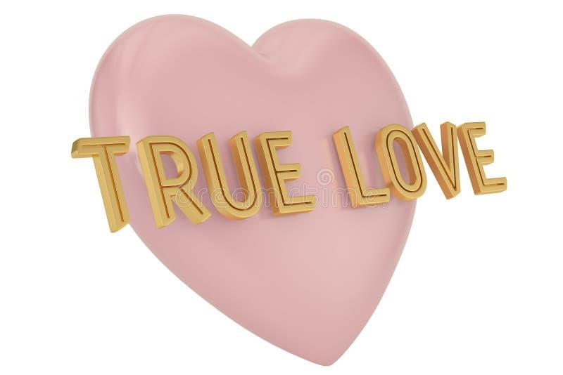 Gouden ware liefdewoord en hartachtergrond 3D Illustratie vector illustratie