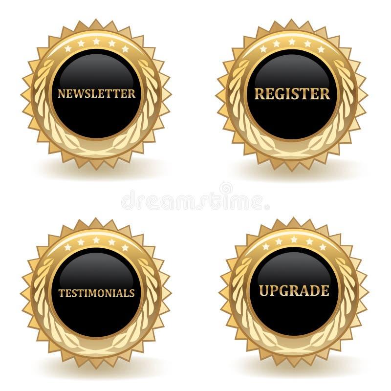 Gouden Webkentekens stock illustratie