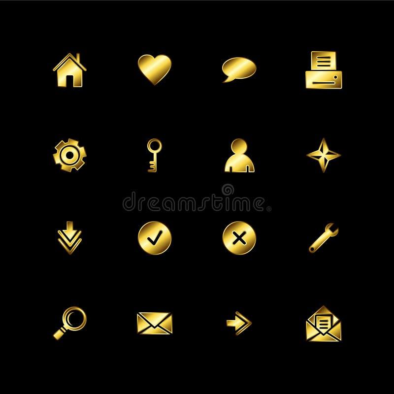 Gouden Webpictogrammen stock illustratie