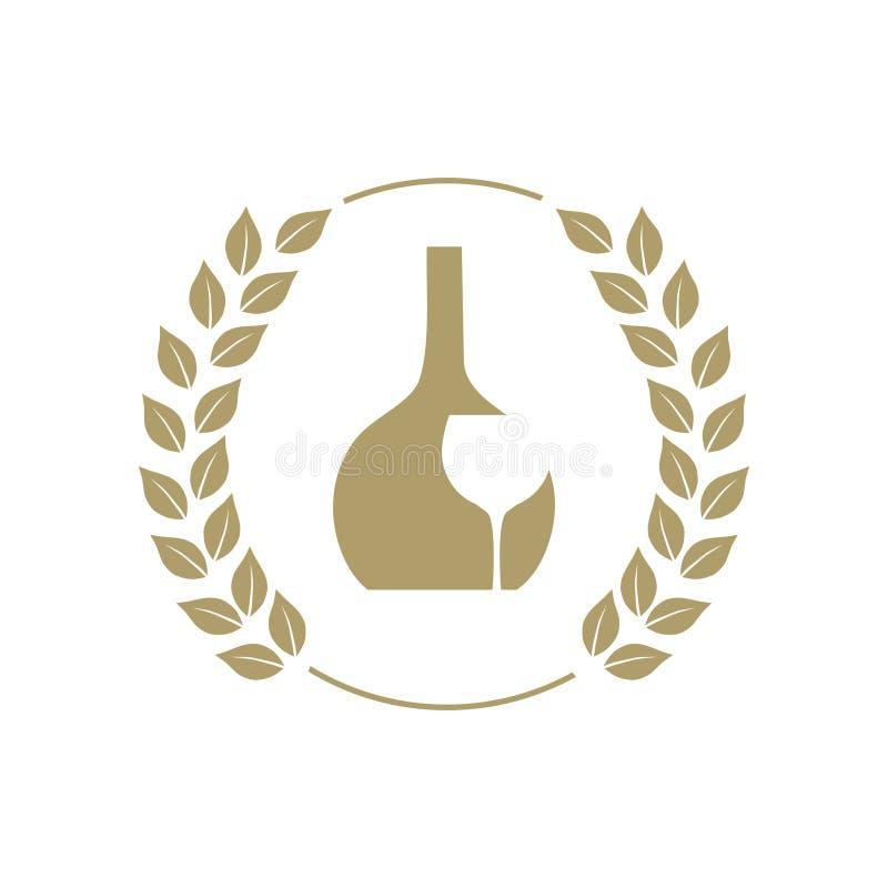 Gouden wijnfles en glas stock illustratie