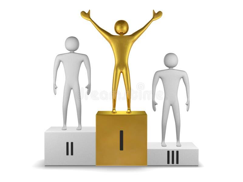 Gouden winnaar en grijze prizetakers op podium. Vooraanzicht vector illustratie