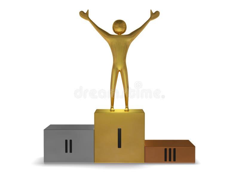 Gouden winnaar op podium van goud, zilver en brons. Vooraanzicht vector illustratie