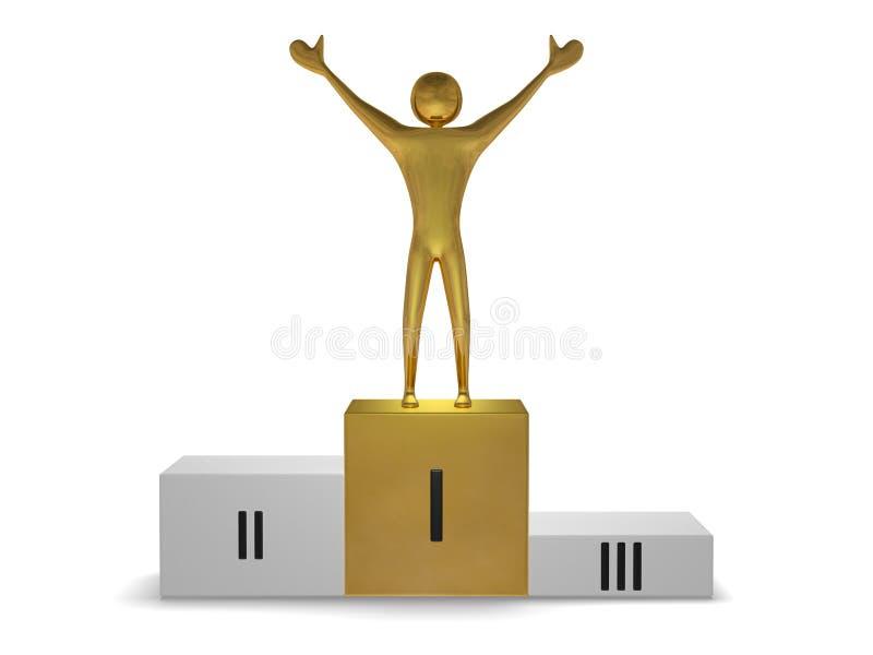 Gouden winnaar op podium. Vooraanzicht stock illustratie