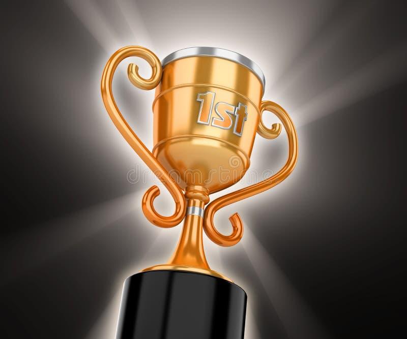 Gouden winnaarkop met volumelicht vector illustratie