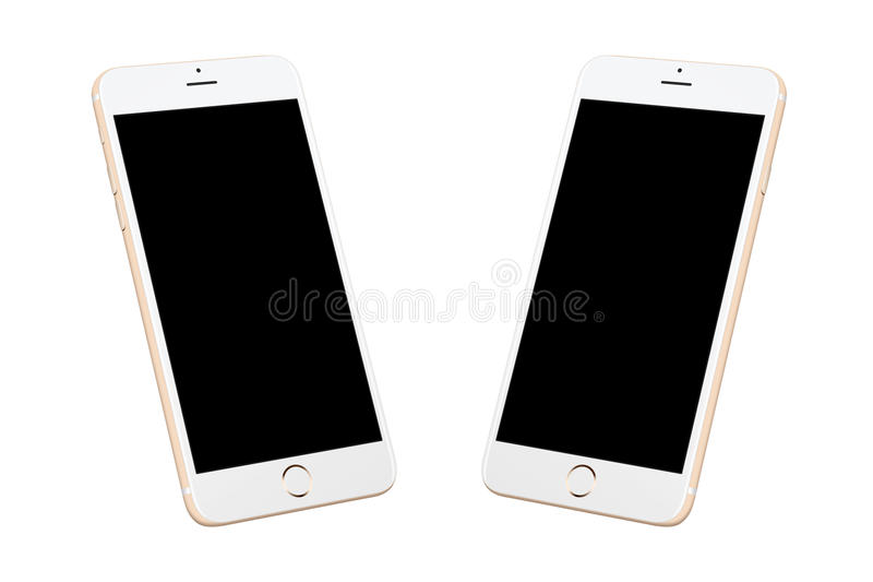 Gouden witte moderne slimme geïsoleerde telefoon royalty-vrije illustratie