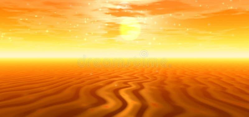 Gouden woestijn royalty-vrije illustratie