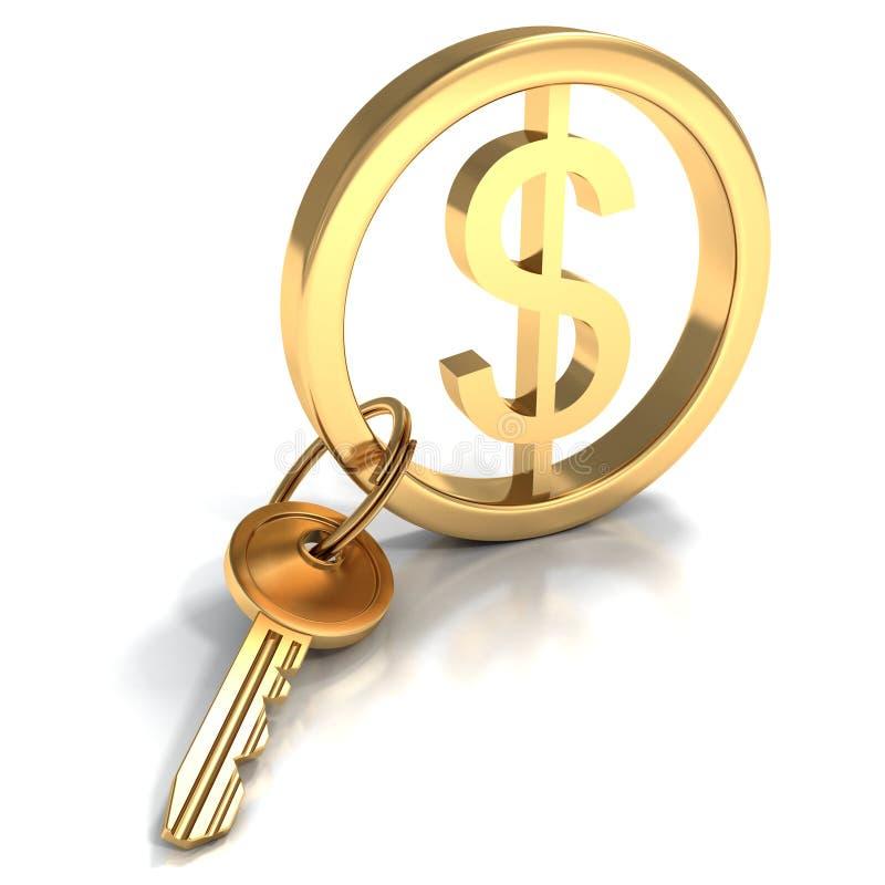 Gouden yalesleutel met dollarteken royalty-vrije illustratie