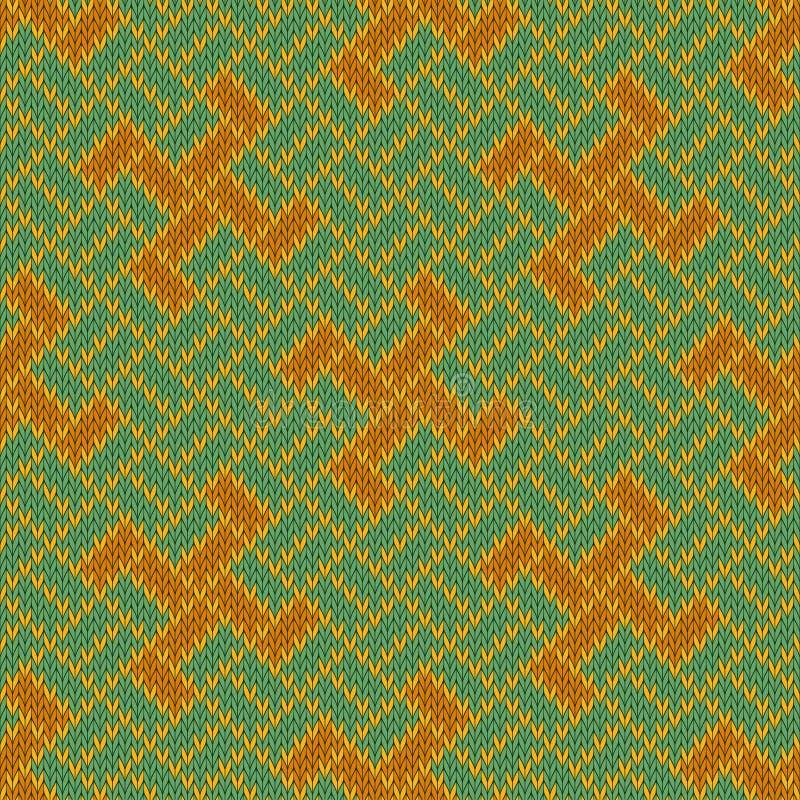 Gouden Yarga Naadloos wollen gebreid patroon vector illustratie