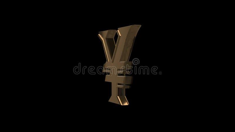 Gouden Yen Currency Symbol Het gouden symbool van de Yenmunt royalty-vrije illustratie