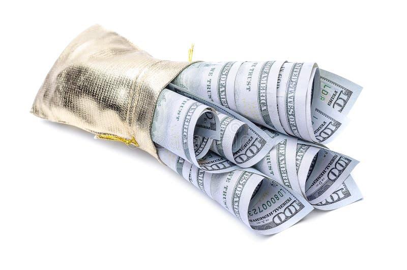 Gouden zakhoogtepunt van dollars royalty-vrije stock foto