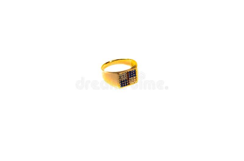 Gouden zegelring met gemmen stock afbeelding