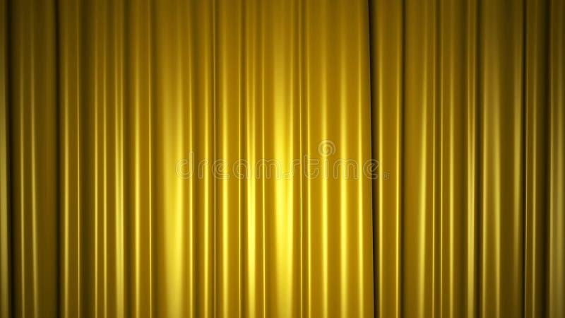 Gouden zijdegordijn op stadium 3D Illustratie stock foto's