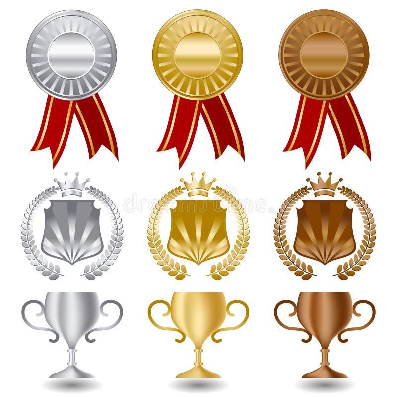 Gouden zilver en brons geplaatste medailles royalty-vrije illustratie