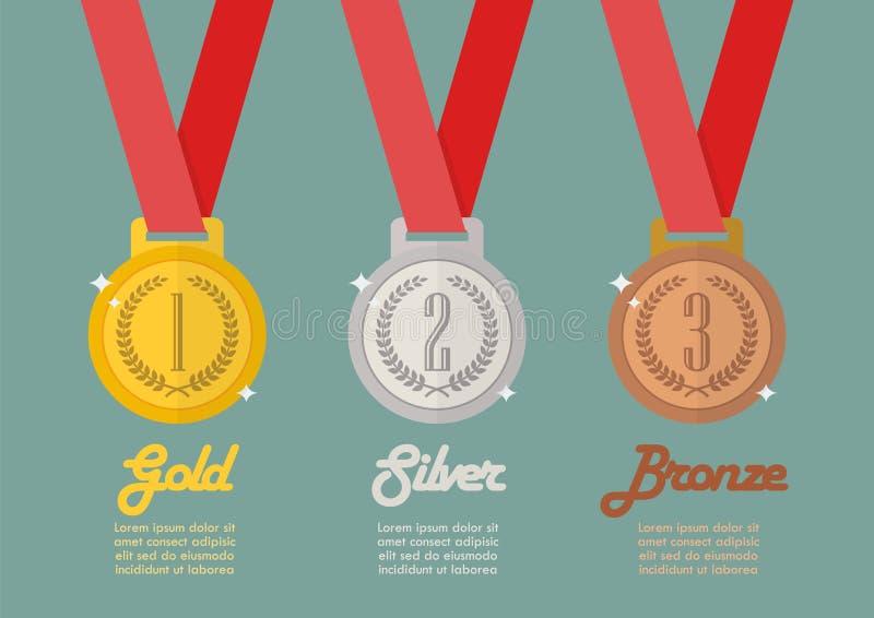 Gouden zilver en brons infographic medailles royalty-vrije illustratie