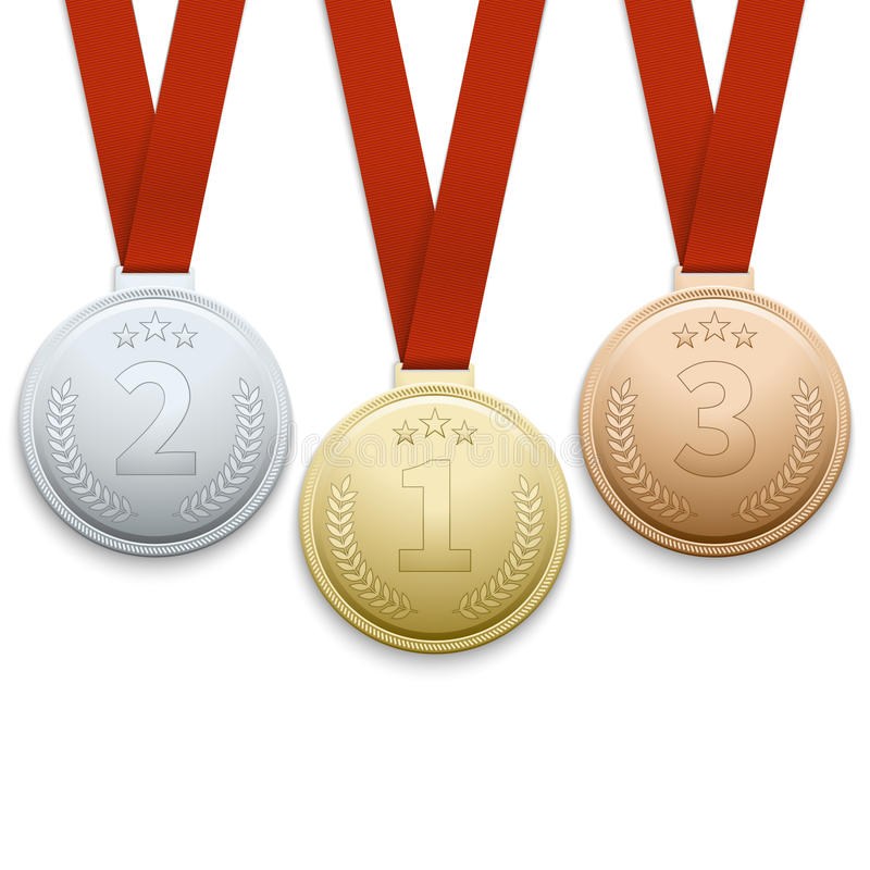 Gouden zilver en bronsmedailles vectorreeks royalty-vrije illustratie