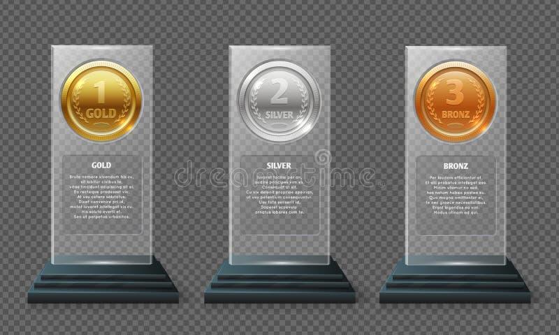Gouden zilver en bronsmedailletrofee Realistische kristal vectortoekenning die op transparante achtergrond wordt geïsoleerd stock illustratie