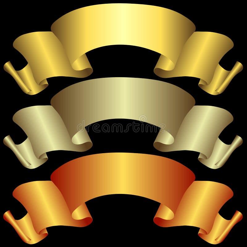 Download Gouden, Zilverachtige En Bronsbanners Vector Illustratie - Illustratie bestaande uit toekenning, teken: 10780963