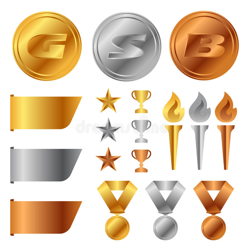 Gouden zilveren bronsmedailles, Trofeekop, begintoekenning en toorts en het vector vastgestelde ontwerp van de markeringsbanner royalty-vrije illustratie