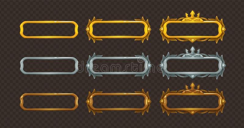 Gouden, zilveren en geplaatste bronskaders stock illustratie