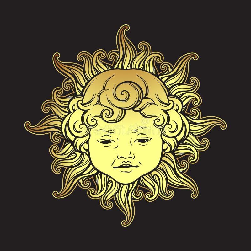 Gouden zon met gezicht van leuke krullende glimlachende geïsoleerde babyjongen Hand getrokken sticker, stoffendruk of de vector v stock illustratie