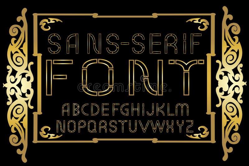 Gouden zonder-serifdoopvont op gouden uitstekende kaderachtergrond Vector illustratie stock illustratie