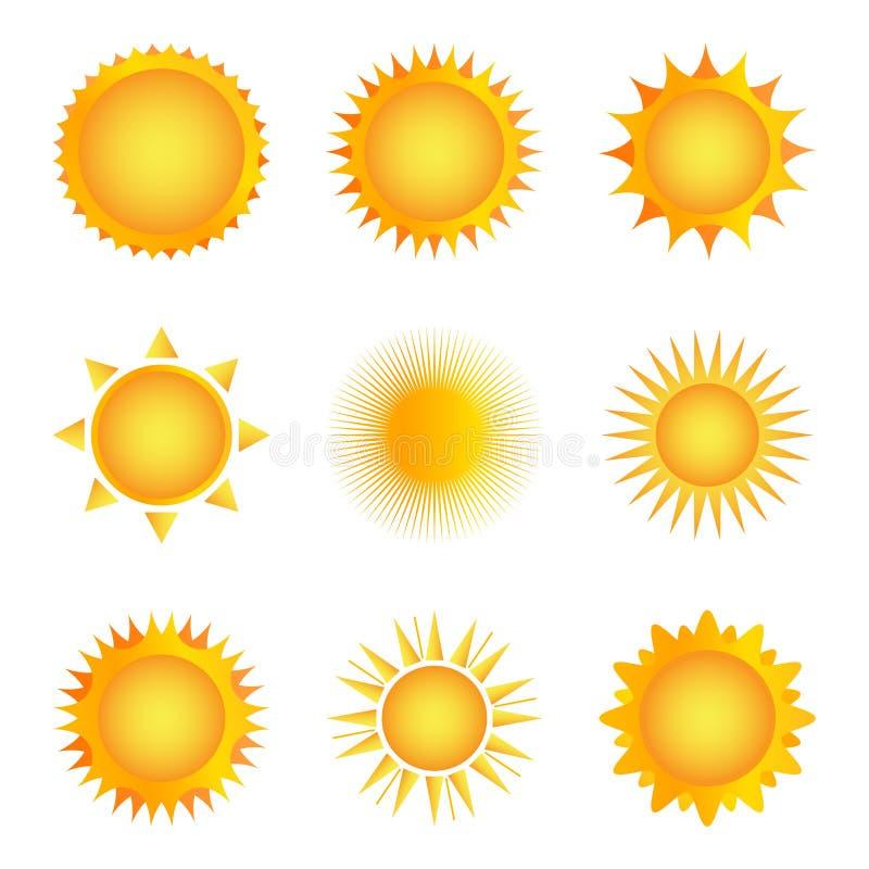 Gouden zonpictogram op een witte achtergrond Vector illustratie royalty-vrije stock afbeeldingen