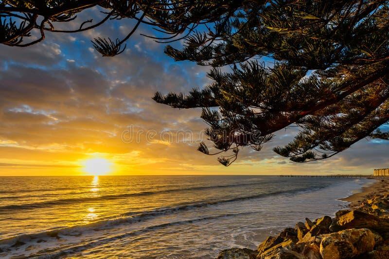 Gouden Zonsondergang bij het Strand royalty-vrije stock foto