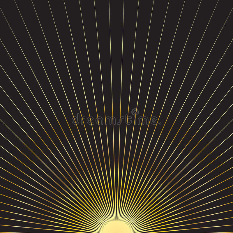 Gouden zonstralen stock illustratie