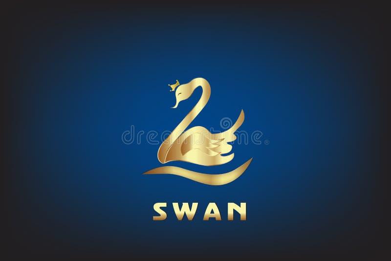 Gouden Zwaan met kroon achtergrondadreskaartjeembleem royalty-vrije illustratie