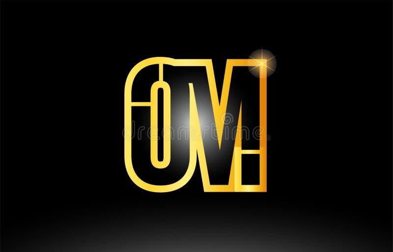 gouden zwart om o m van de alfabetbrief het pictogramontwerp van de embleemcombinatie royalty-vrije illustratie