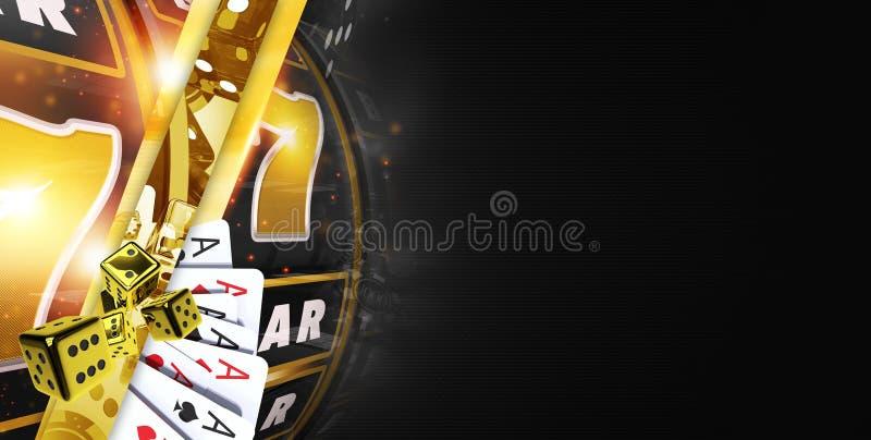 Gouden Zwarte Casinobanner stock illustratie