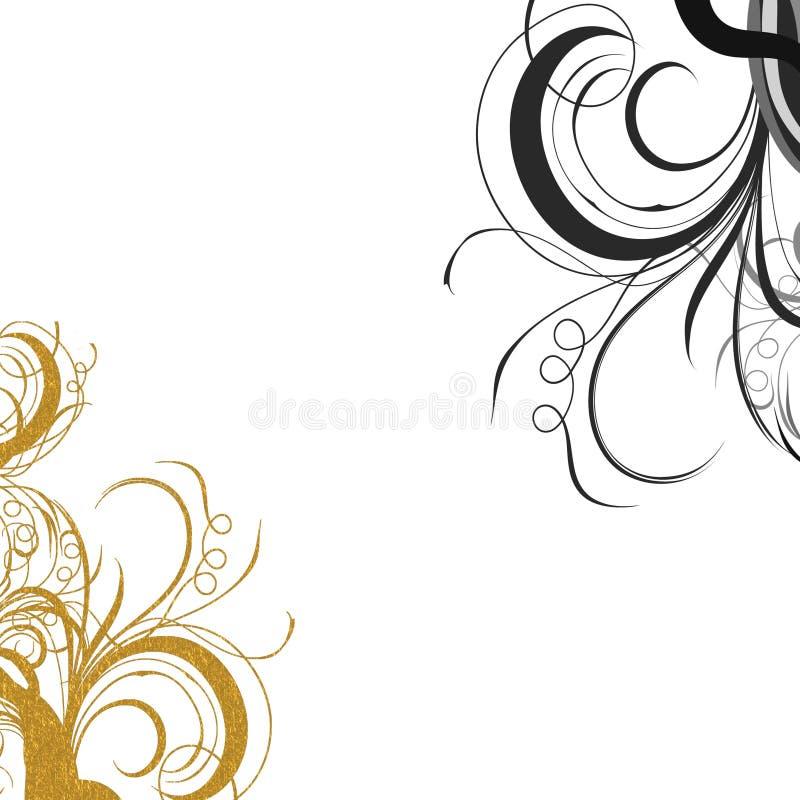 Gouden zwarte wervelingen royalty-vrije stock afbeeldingen