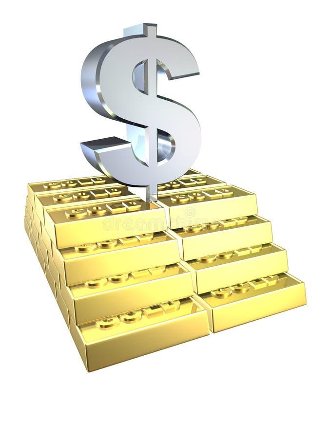 Goudstaven en dollarteken royalty-vrije illustratie