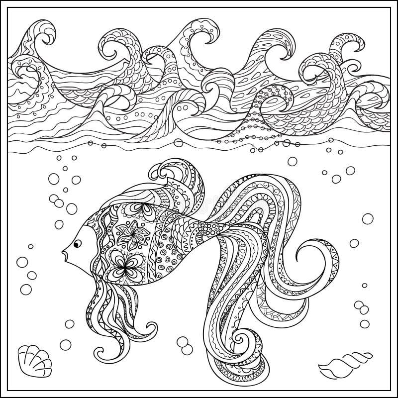 Goudvis in de oceaan vector illustratie