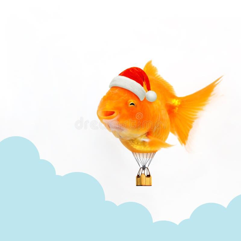 Goudvis die een de hoedenballon dragen die van de Kerstman in de foto van de wolkenhemel het retoucheren drijven vector illustratie