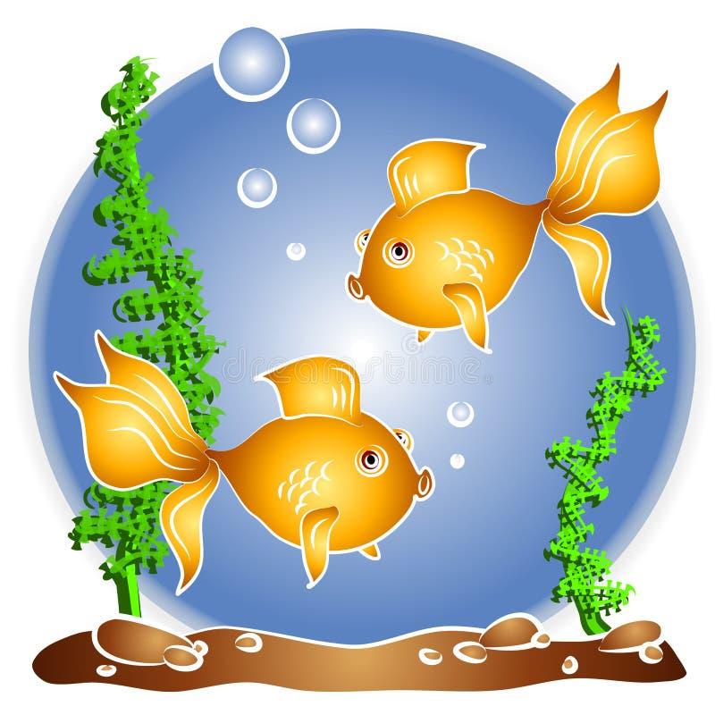 Goudvis die Fishbowl zwemt royalty-vrije illustratie