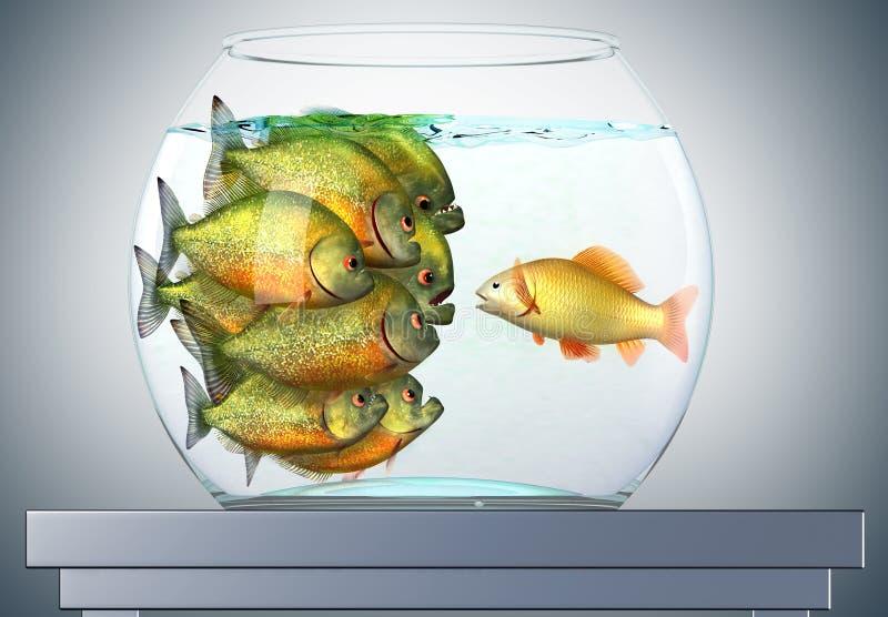 Goudvis en piranha's stock illustratie