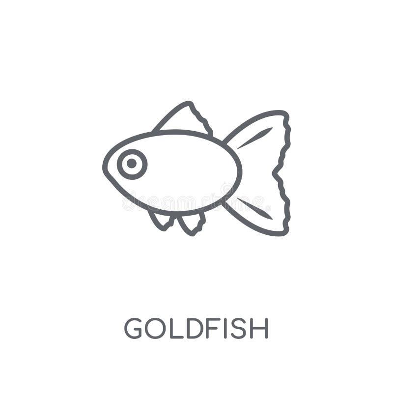 Goudvis lineair pictogram Modern het embleemconcept van de overzichtsgoudvis op wh stock illustratie