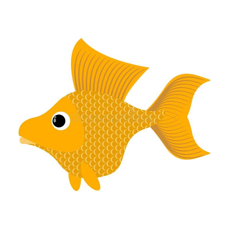 Goudvis op Witte achtergrond De fabelachtige vis vervult wensen Ye stock illustratie